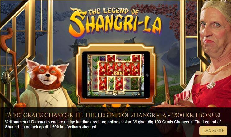 Danmarks mest royale online casino med 100 gratis spins på The Legend of Shangri-La