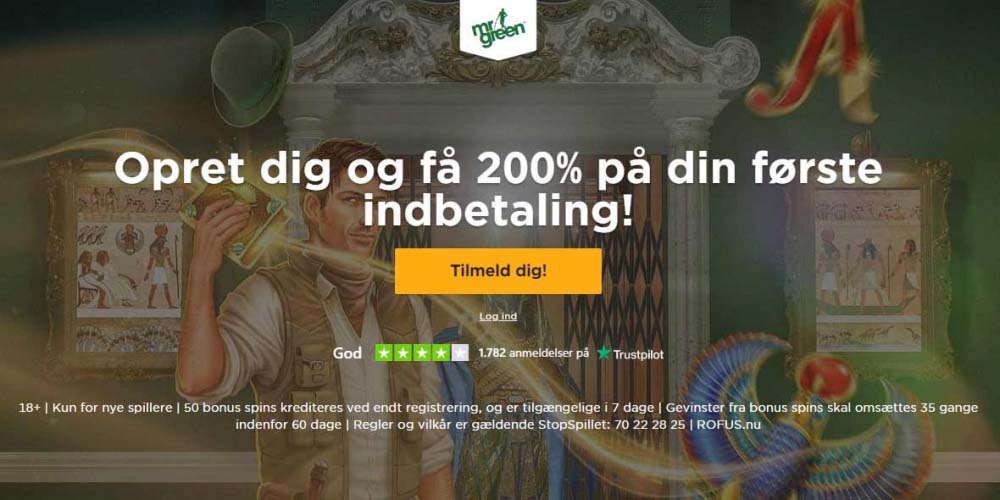 Ny eksklusiv bonus: 200% bonus og 350 Free Spins på Mr Green
